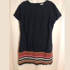 BODEN Navy LINEN STRIPE DRESS US 16 16R